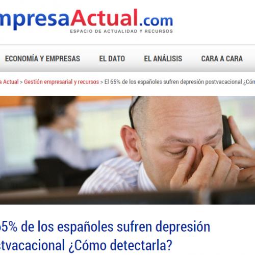 Reportaje Centrum en Empresa Actual: depresión postvacacional