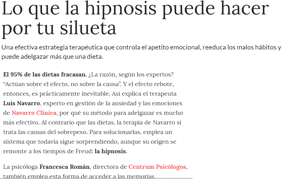Hipnosis clínica para perder peso